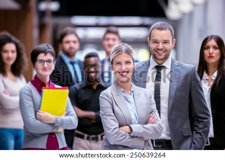young multi ethnic business people group standing  - stock photo