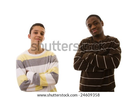 young multiracial friends standing (isolated on white)
