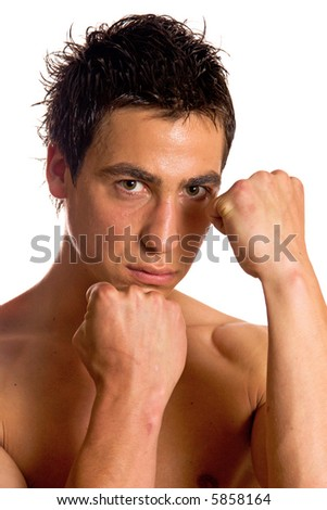 Young muscular builder man posing, isolated on white background