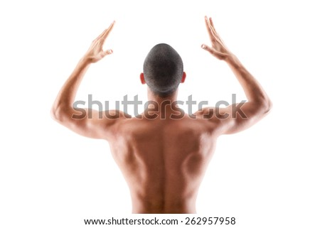 Young muscular male,athlete torso on white - stock photo
