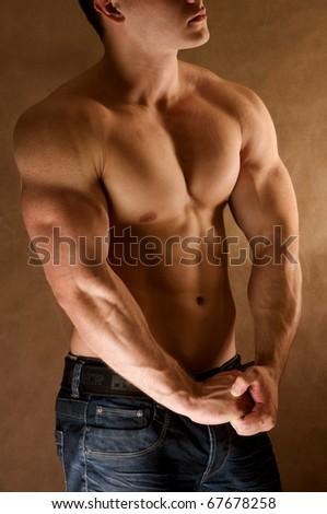 young muscular man - stock photo