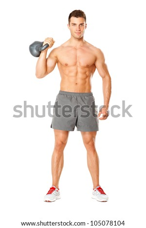 Young muscular man lifting weights on white background