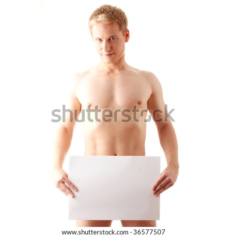 Young muscular nude man covering a copy space blank billboard isolated on white - stock photo