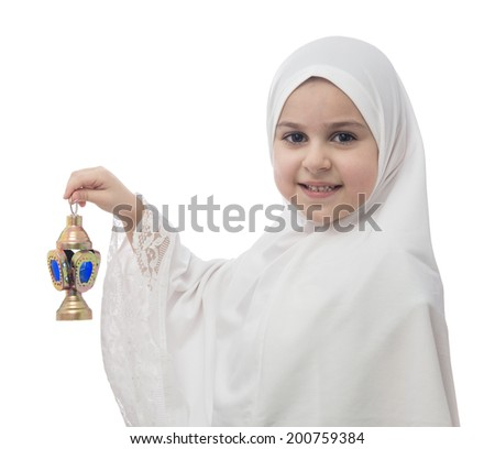 Young Muslim Girl  in White Hejab with Lantern Isolated on White Background - stock photo