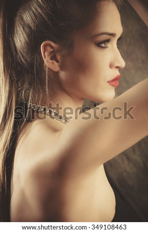 young natural blonde woman beauty portrait, profile, studio shot
