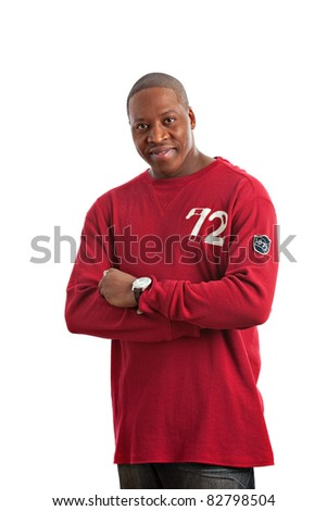 Young Natural Looking Smiling African American Fashion Model Wearing Red T-shirt on Isolated White Background