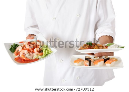 Young nepalese chef hands holding three plates with tasty oriental food. Studio shot. White background. - stock photo