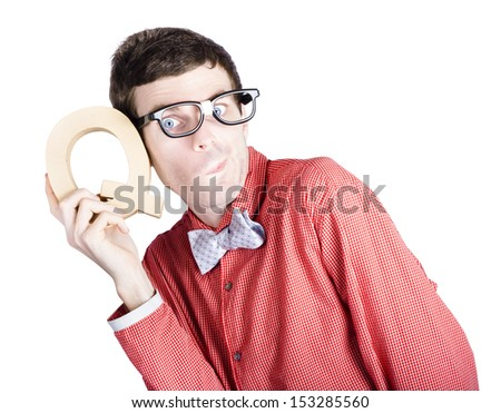 Young nerd businessman holding the letter Q for question mark when problem solving over white background - stock photo