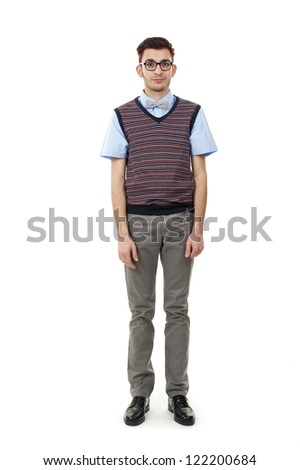 Young nerd man posing - stock photo