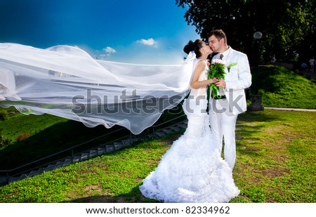 Young newly married couple posing in park.wind lifting long bridal veil - stock photo