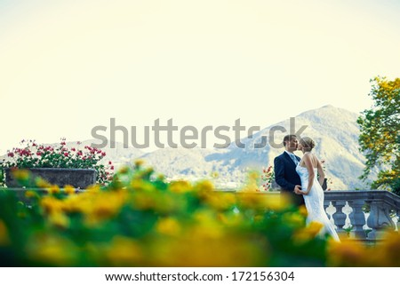 Young newly wed couple - stock photo