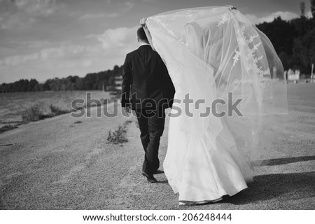 Young newlywed caucasian couple together. - stock photo