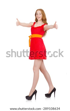 Young nice girl thunms up isolated on white - stock photo