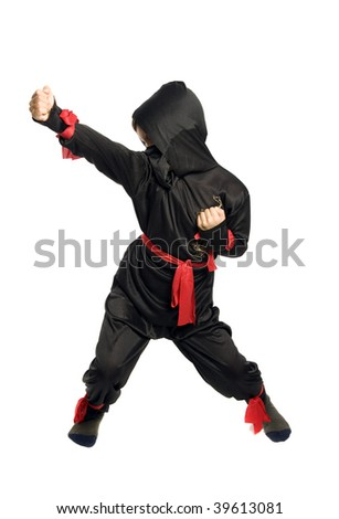 Young Ninja on pure white background