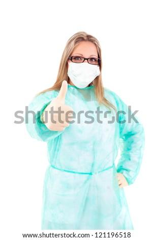 Young nurse signaling ok - isolated over white - stock photo