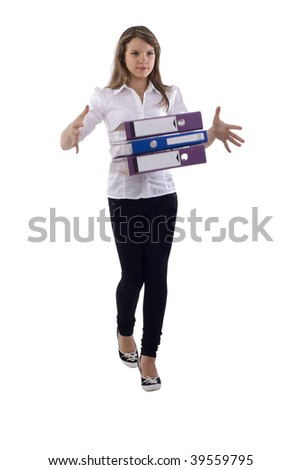 Young Office Girl With Motion Blur Documents. Isolated On White Background.