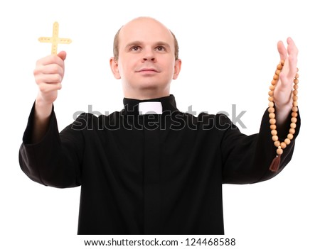 Young pastor with wooden cross and  rosary, isolated on  white - stock photo