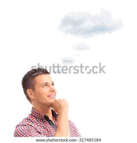 Young pensive man contemplating something with a cloud floating over his head isolated on white background - stock photo
