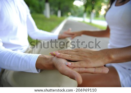 young people and their hands closeup  - stock photo