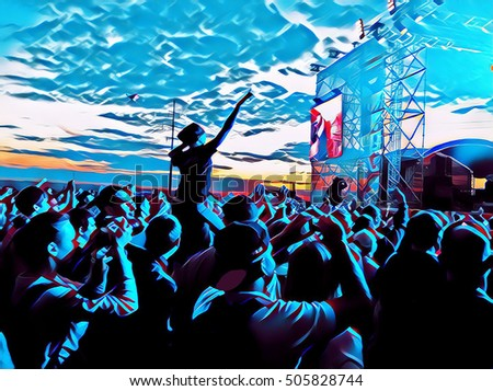 Young people crowd on a music concert near scene. Digital illustration of ope air concert. Popular music concert with fan crowd in front of the scene. Happy people dancing abstract background image