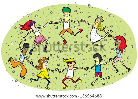 Young People Dancing in a Circle on Green Grass Field with Flowers. (for vector see image 112124720)
