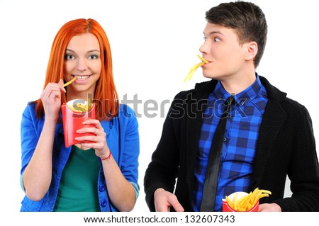 young people eating french-fries