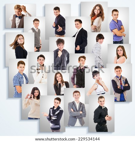 Young people emotional portraits photos on the white wall - stock photo