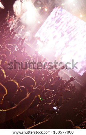 young people enjoy in the music - stock photo