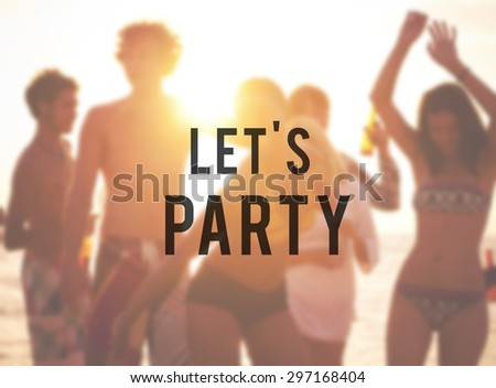 Young people enjoying a summer beach party. - stock photo