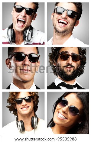 young people enjoying wearing sunglasses over grey background - stock photo