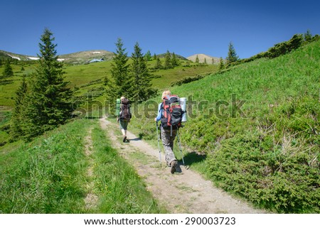 Young people hiking with sticks and backpack in the beautiful mountains landscape