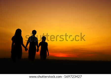 Young people in silhouette. Friendship theme