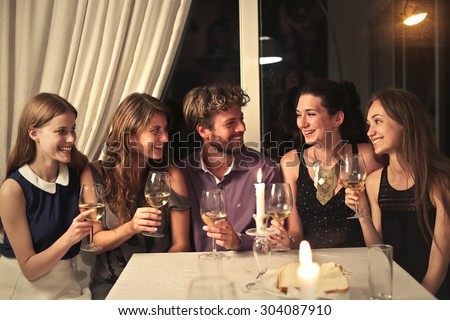 Young people making a toast - stock photo