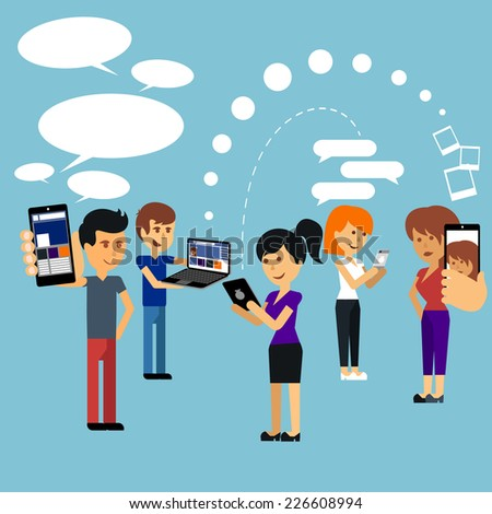 Young people man and woman using technology gadget smartphone mobile phone tablet pc laptop computer in social network communication concept flat design cartoon style with copyspace. Raster version - stock photo