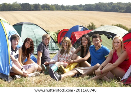 Young people on camping trip - stock photo