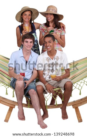 Young people on holiday together - stock photo
