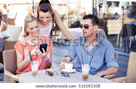 Young people on meeting - stock photo