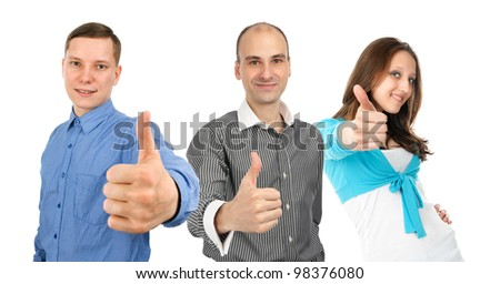 young people showing thumbs up. Isolated on white background. - stock photo