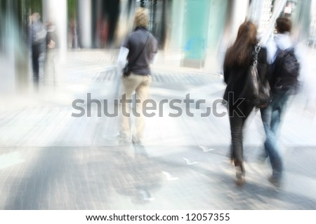 young people walking in the modern downtown - stock photo