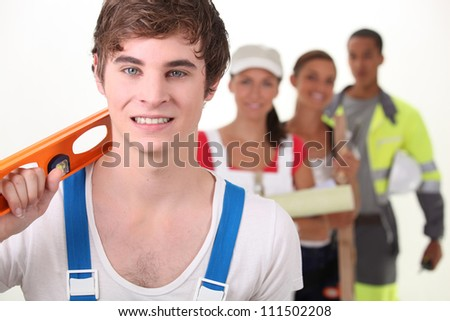 Young people with different occupations - stock photo