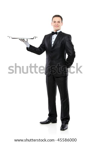 Young person in a suit holding an empty tray isolated on white background