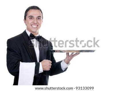 Young person in a suit holding an empty tray isolated on white background - stock photo