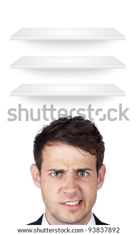 Young persons head looking at white copyspace - stock photo