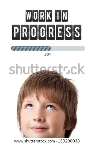 Young persons head looking with gesture at idea type of sign - stock photo
