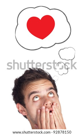 Young persons head looking with gesture at love signs
