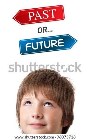 Young persons head looking with gesture at positive negative signs - stock photo