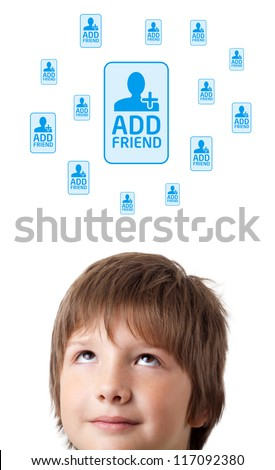 Young persons head looking with gesture at social type of icons and signs - stock photo