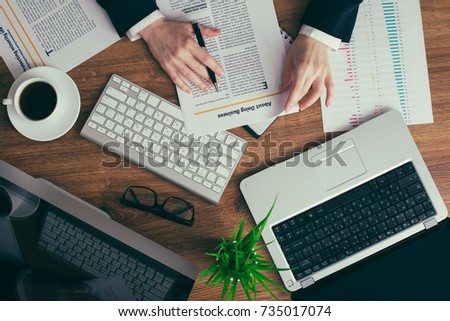 Young perspecrive businesswoman hard working in office