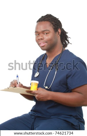 Young pharmacist - stock photo