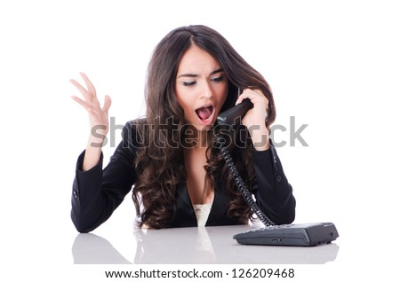 Young phone operator on white - stock photo